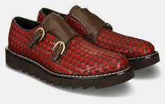 innovation and tradition are the words that best describe this style favourite of the cesare paciotti men's collections. the classic double monk strap, with original red and brown checkerboard upper, is updated with a revolutionary lugged micro-rubber sole for a fresh, modern look
