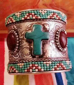 Turquise Cross Cuff Bracelet by IDIG on Etsy