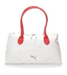 PUMA Ferrari LS Shoulder Hand Bag Boston Bag in White (07159303)   WomenGymBags 5eb1e10812f43