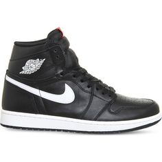 Nike Air jordan 1 retro leather high-top trainers (175 CAD) ❤ liked on Polyvore featuring men's fashion, men's shoes, men's sneakers, shoes, sneakers, nike, men shoe's, mens leopard print shoes, nike mens sneakers and nike mens shoes