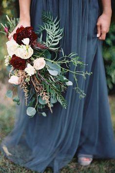 Blue Wedding Flowers Grey blue wedding dress with a marsala wedding bouquet. Fall Wedding Bouquets, Fall Wedding Colors, Floral Wedding, Trendy Wedding, Wedding Dresses, Fall Bouquets, Bridal Bouquets, Modest Wedding, Wedding Color Schemes Fall Rustic