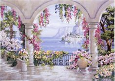 Floral Patio (Medium) embroidery panel, ready to embroider Fantasy Art Landscapes, Fantasy Landscape, Landscape Art, Landscape Paintings, Watercolor Paintings, Beautiful Paintings, Beautiful Landscapes, Pintura Colonial, Cottage Art