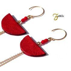 """Boucles d'oreille or 14k et cuir rouge - graphique chic - modèle cancun """"collection mexico"""""""