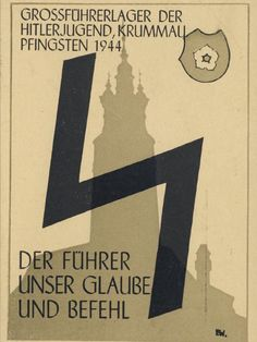 "Third Reich propaganda postcard . Says : "" Hitler Jugend "" , "" The Fuhrer-our believe-and Command "" ... 1944 ..."