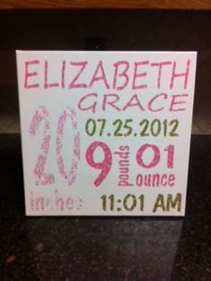 Birth announcement on canvas