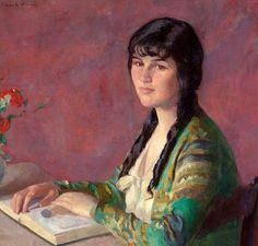 Jovem lendo, s/d Ivan Olinsky (Rússia/EUA, 1878-1962) óleo sobre tela, 60 x 63 cm Em leilão, 2009