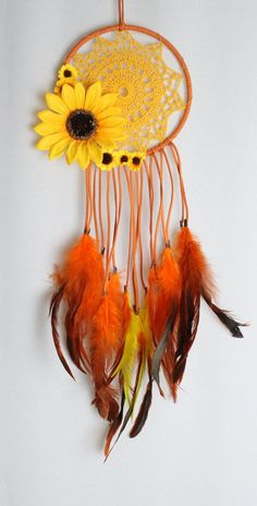 Sunflower Dream Catcher with Orange Faux Suede, a Yellow Crochet Doily, and Matching Feathers: