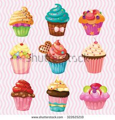 set of Cakes, nine different cakes
