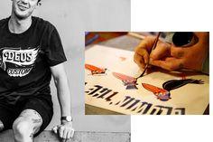 Seasoned japanese signwriter Sketch has created his own distinct visual language through years of applying his round-tip bristles to motorbikes & shopfronts Deus Ex Machina, Signwriting, Motorbikes, More Fun, How To Apply, Language, Sketch, Japanese, Shirts