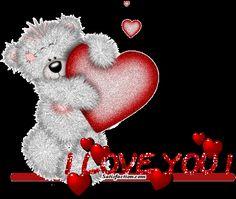 Imagen animada de un oso con un corazon