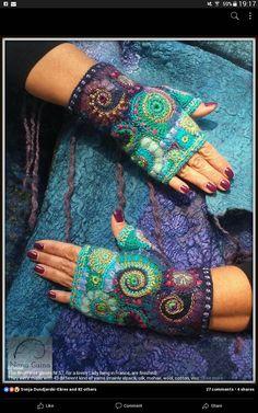 Fingerless Gloves Knitted, Knit Mittens, Knitted Shawls, Freeform Crochet, Irish Crochet, Knit Crochet, Hand Knitting, Knitting Patterns, Crochet Headband Pattern