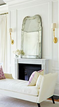 #nowpinning Dying for this combo. Chic chaise + amazing gold scones + Venetian mirror. GLAM. #kathykuohome