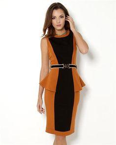 Class Roberto Cavalli Belted Peplum Dress - Made in Europe DressWomen   Dresses Roberto Cavalli a6ec6365bd6