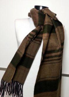 Cashmere Men's Scarf - Green and Brown Scarf - Wool Men's Scarf - B10188 #handmadeatamazon #nazodesign