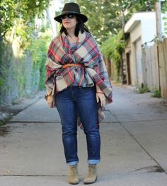 scarf as a cape, felt hat, suede booties, fall outfit, fall style over 40, how to wear a blanket scarf Fall Winter Outfits, Winter Fashion, How To Wear A Blanket Scarf, Womens Fashion Stores, Large Scarf, Suede Booties, Get Dressed, Plaid Scarf, Outfit Of The Day