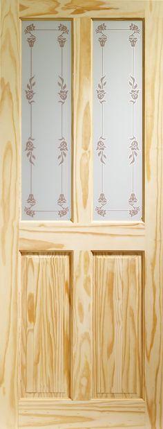 Victorian 4 Panel Internal Knotty Pine Door with Bluebell Glass Flat Image Victorian Internal Doors, Victorian Front Doors, Knotty Pine Doors, Glass Panels, Lighting Design, Curtains, Flat, Home Decor, Image