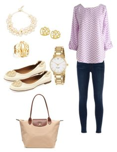 """608 followers"" by preppysoutherngirl-hcc ❤ liked on Polyvore featuring J Brand, Tory Burch, J by Jasper Conran, Jennifer Zeuner, Kate Spade and Longchamp"