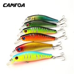 CAMTOA 1 pack of 6pcs/lot Colorful Fishing Lures 8.5CM/8.5G Artificial baits tackle 3D Fish Eyes with Hooks Fishing accessory