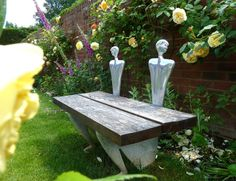 Beautiful Bench Beautiful Gardens, Beautiful Homes, Sculpture Art, Sculptures, Outdoor Furniture, Outdoor Decor, Fine Dining, Pewter, Home Accessories