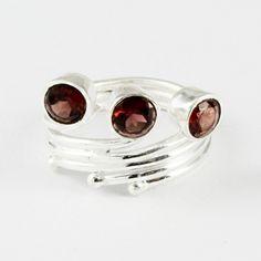Garnet Stone Designer 925 Sterling Silver Ring by JaipurSilverIndia on Etsy