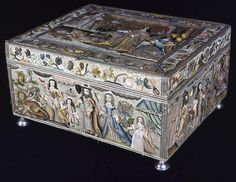 England, Dressing Box Depicting the Finding of Moses and Scenes from Abraham and Hagar, 1668
