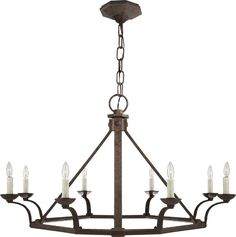 """ROBERTSON SINGLE TIER CHANDELIER, Circa, 1650.00, 27 1/2"""" h, 43"""" w , Octagon shaped, natural rust"""