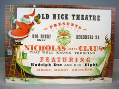Old Nick Theatre Presents – Vintage Christmas Card USED – Scrapbooking Crafts Decoration – Coronation Collection by fromThePeddlersCart on Etsy