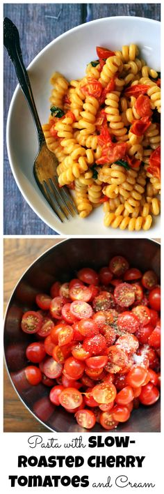 Pasta with slow-roasted cherry tomatoes and cream is rich and indulgent with bursts of juicy tartness from the roasted tomatoes.