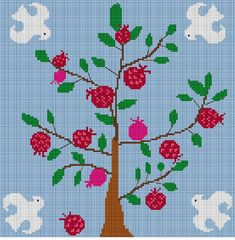 Pink Pomegranates Tree of Life Judaica counted Cross Stitch design for 14ct. Aida cloth