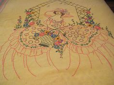Vintage Yellow Southern Belle Lady w Basket Bedspread Twin Embroidered Bedspread | eBay