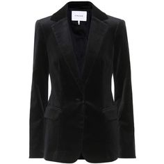 Frame Classic Velvet Blazer (41.340 RUB) ❤ liked on Polyvore featuring outerwear, jackets, blazers, black, velvet jackets, blazer jacket and velvet blazer