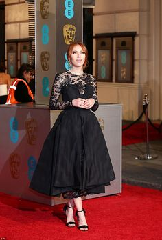 Black lace: TV presenter Angela Scanlon looked beautiful in a mid-length dress in black with a lace detail