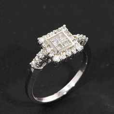 .60 tcw Real Princess Cut Diamond Halo Set Engagement Ring 14k Solid White Gold in Jewelry & Watches | eBay
