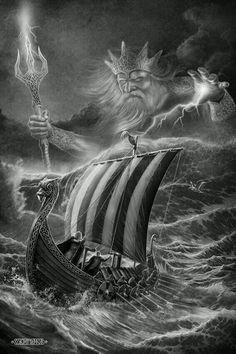 Who is that old man behind the drakkar? Viking Ship Tattoo, Viking Warrior Tattoos, Viking Tattoo Sleeve, Norse Tattoo, Viking Tattoo Design, Sleeve Tattoos, Greek Mythology Tattoos, Norse Mythology, Viking Symbols