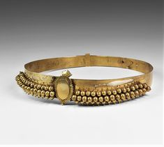 Ancient to Medieval (And Slightly Later) History - East European Gilt Wedding Belt, 19th Century AD... Gold Earrings Designs, Gold Jewellery Design, Ancient Jewelry, Antique Jewelry, Gold Bangles, Gold Rings, Vaddanam Designs, Ancient Greek Sculpture, Wedding Belts