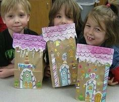 Paper bag gingerbread houses- use lots of glitter!!! display on shelves with white batting and cotton balls on string for snow