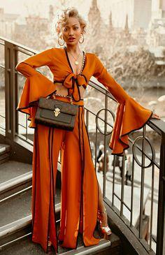 Cinnamon Girl Orange Long Flare Sleeve Tie Front V Neck Crop Top Slit Loose Wide Leg Pants Two Piece Jumpsuit - Sold Out Side Slit Pants, Wide Leg Pants, Donatella Versace, Cool Outfits, Summer Outfits, Fashion Outfits, Estilo Fashion, Ideias Fashion, Mode Kimono