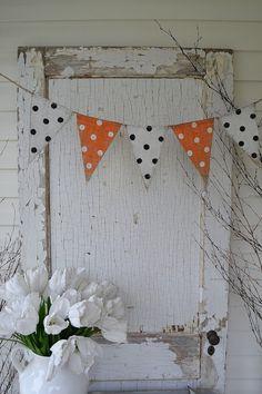 Halloween Glitter Poka Dot Burlap Banner Pennant Bunting