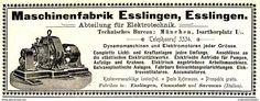 Original-Werbung/ Anzeige 1898 - MASCHINENFABRIK ESSLINGEN / ELEKTROTECHNIK / SARONNO - Ca. 150 X 60 Mm - Werbung