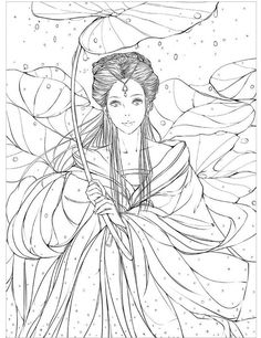 Chinese ancient figure line drawing book cartoon art: pencil watercolor painting book for copy ,able to used as coloring book Fairy Coloring Pages, Adult Coloring Pages, Coloring Books, Cartoon Kunst, Cartoon Art, Colorful Drawings, Art Drawings, Painted Books, Line Drawing