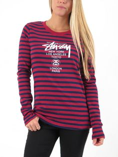 World Tour Long Sleeve T-Shirt for Women by Stussy