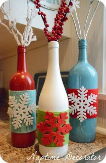 Combo Post: On Thanksgiving and Christmas DIY Wine Bottle Vases - Naptime Decorator
