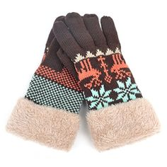 La moriposa Women's Winter Glove Deer Pattern Warm Knitted Glove * Details can be found by clicking on the image.