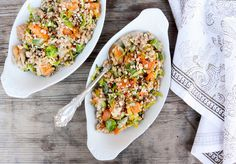 Farro Salad with Butternut Squash, Brussels Sprouts and Leeks
