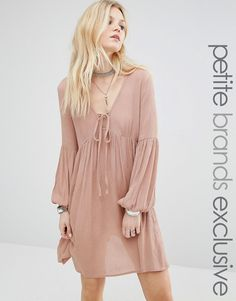 Glamorous+Petite+Smock+Dress+With+Bell+Sleeve