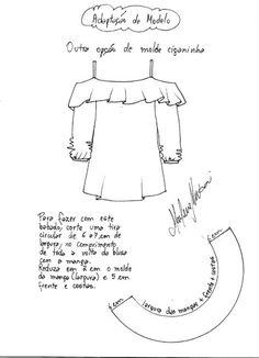 molde de como fazer blusa cigana