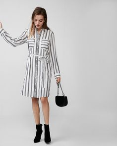 Striped Tie Front City Shirt Dress By Express | Express