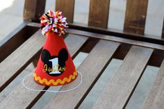 Personalized Birthday Hat Mickey Mouse Red Yellow Gold Black White First Birthday Party 1st Birthday Outfit Little Man on Etsy, $23.50