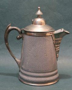 Antique Grey Enamel Graniteware Pewter Trimmed Coffee Tea Pot Victorian | eBay