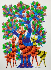Animals Under The Tree traditional art by Choti Gond Artist | ArtZolo.com
